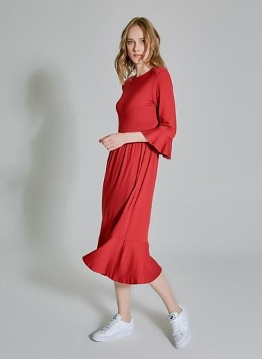 People By Fabrika Volan Detaylı Elbise Kırmızı